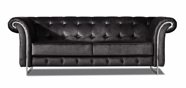 Nayeli Contemporary Black Velvet Tufted Sofa with Chrome Accents