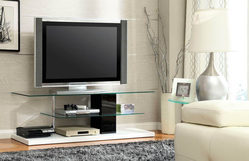 neapoli contemporary white and black tv console with chrome posts cm5811. Black Bedroom Furniture Sets. Home Design Ideas