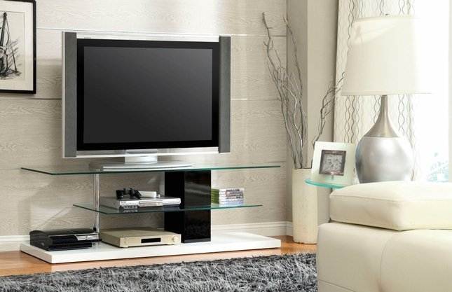 Neapoli Contemporary White and Black TV Console with Chrome Posts