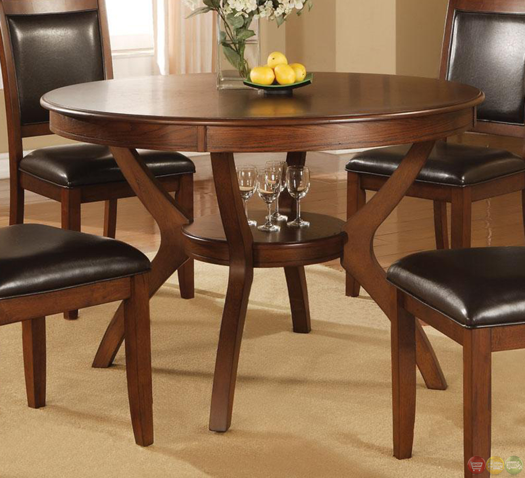 Casual Dining Room Sets: Nelms Walnut Finish Casual 5 Piece Dining Room Set
