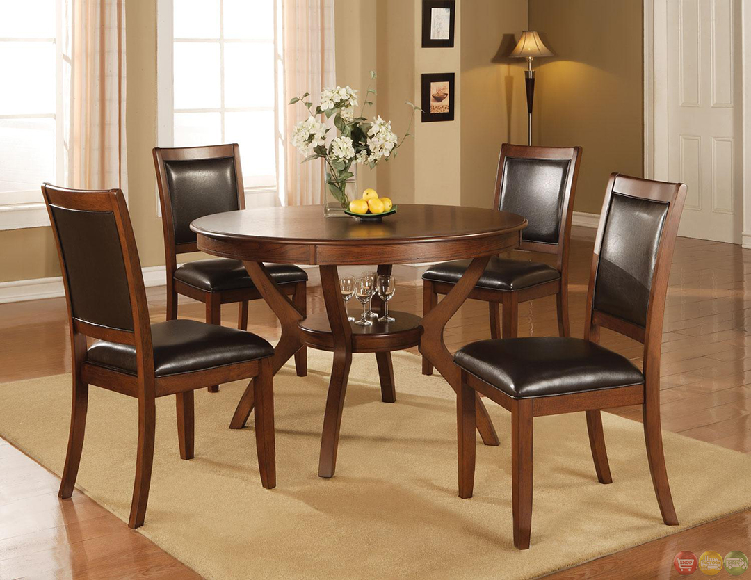 Nelms walnut finish casual 5 piece dining room set for Dining room round table