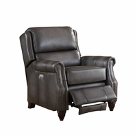 Nelson Traditional 100% Genuine Leather Power Recliner In Grey