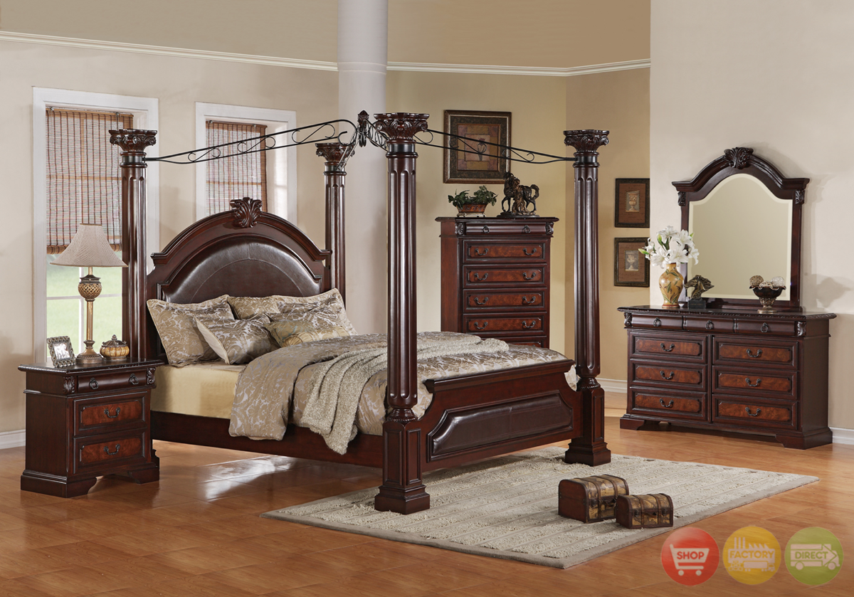 Neo renaissance poster canopy bed luxury bedroom furniture for Bedroom set with bed