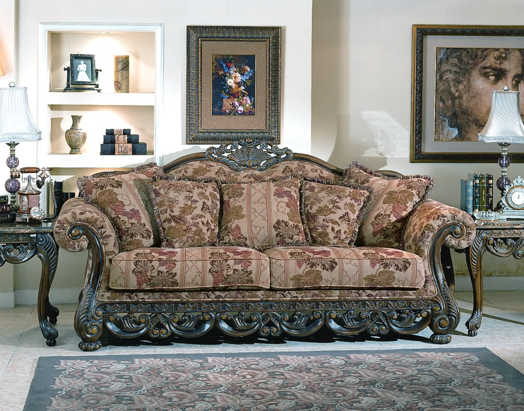 Newport baroque style fabric formal living room furniture set for Pictures of traditional furniture