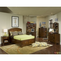Newport Beach Brown Cherry Full Panel Youth Bed