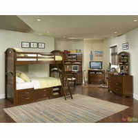 Newport Brown Cherry Twin over Twin Youth Bunk Bed