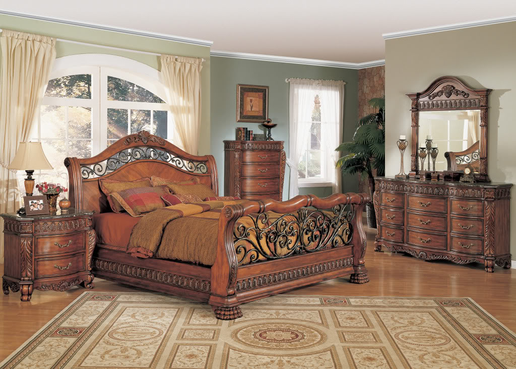 Nicholas Luxury Bedroom Set Cherry Finish Marble Tops Free