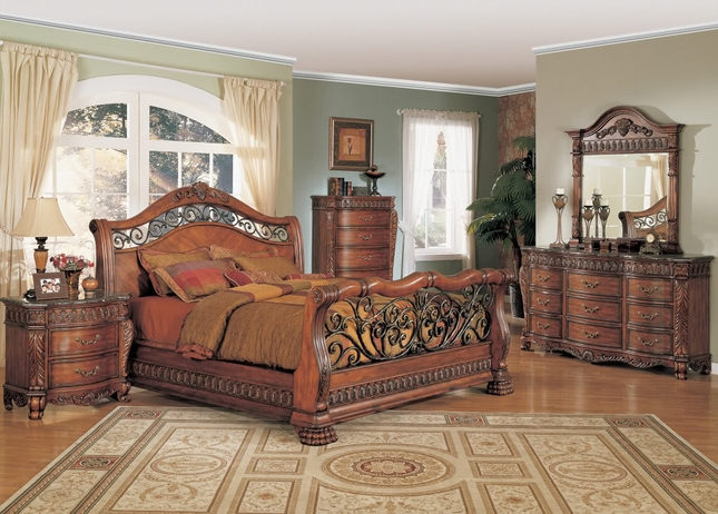 nicholas luxury bedroom set cherry finish marble tops nc6000