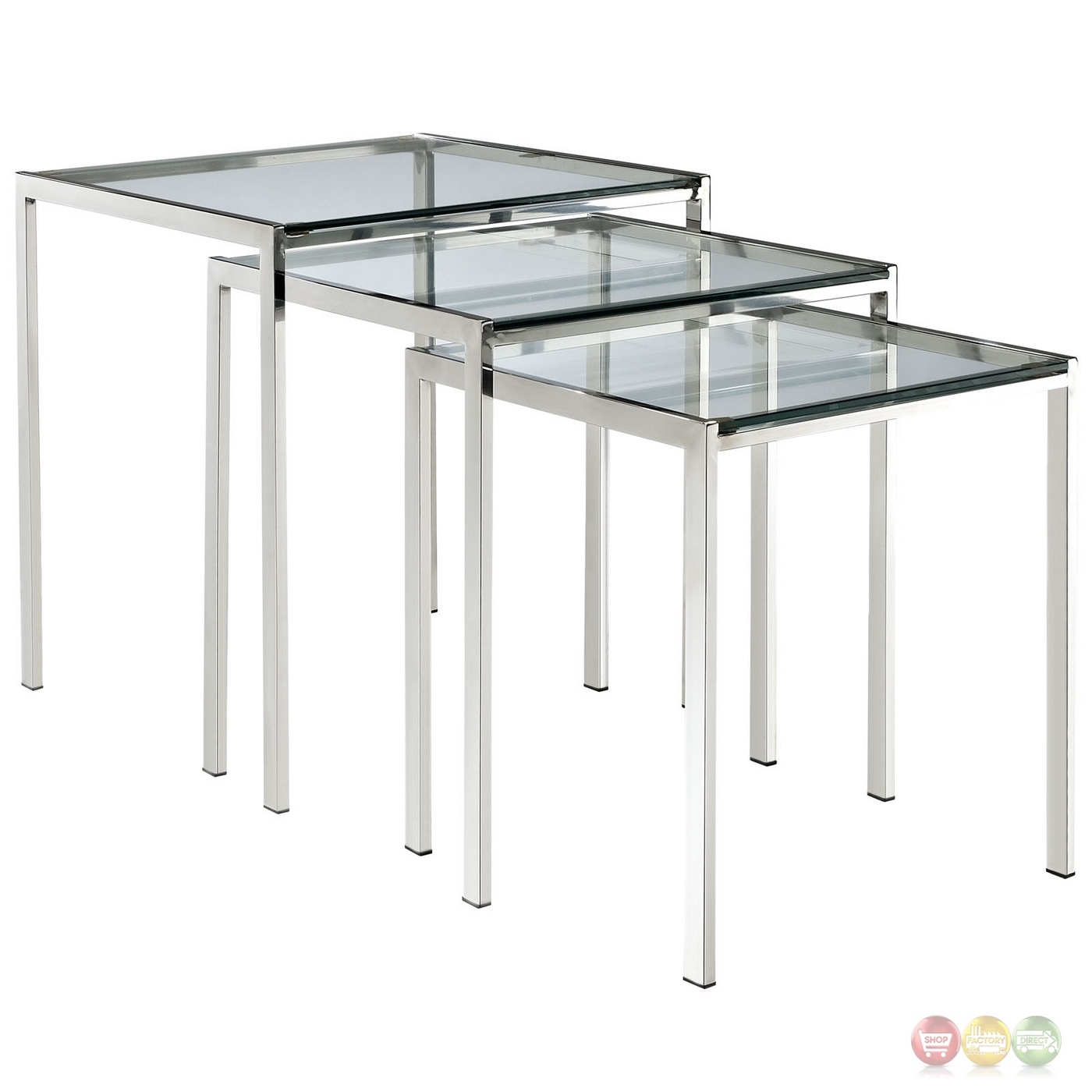 Contemporary Nesting Tables ~ Nimble modern glass top nesting table w stainless steel