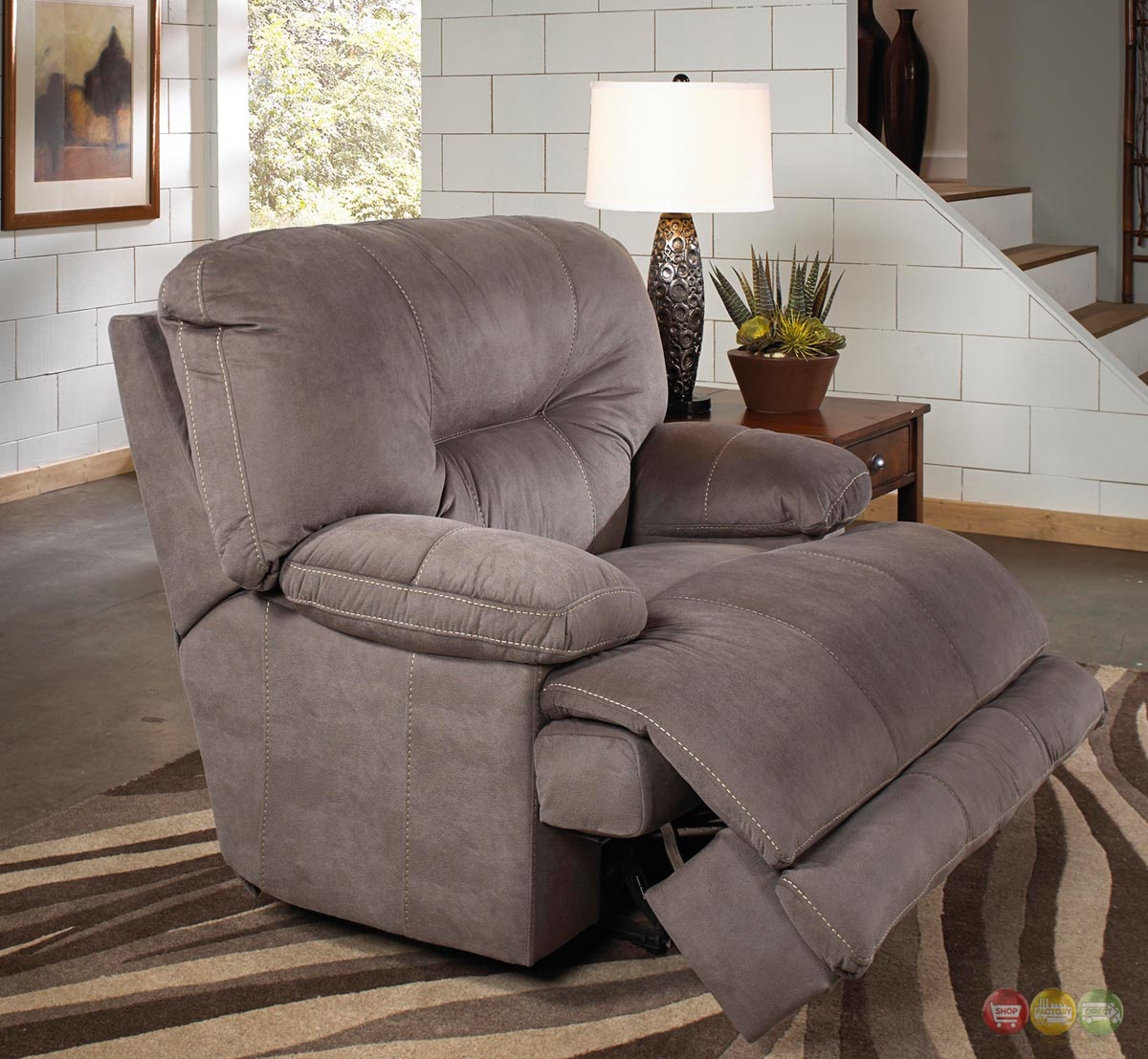 Noble Slate Gray Lay Flat Cuddler Recliner Oversized