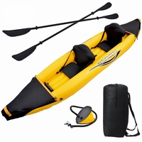 Nomad 2 Person Fabric Seat Inflatable Sport Kayak with Paddle, Pump, Carry Bag
