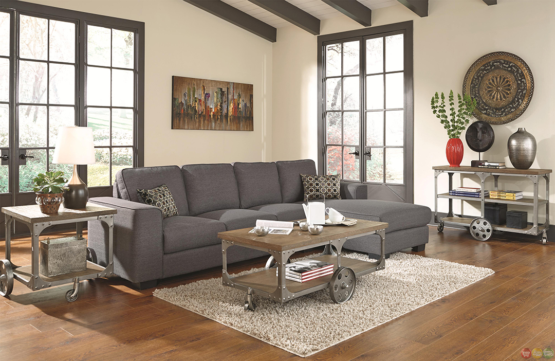 norland bluish grey fabric upholstery sectional sofa