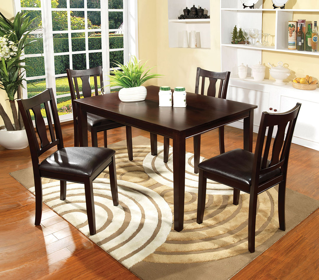 Modern 5pc Dining Table Set Kitchen Dinette Chairs: Northvale I Contemporary Espresso Casual Dining Set With