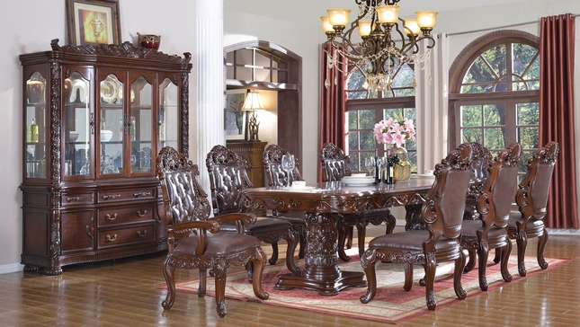 Nouvelle Double Pedestal 84\ -120\  Wood 5Pc Dining Table Set in Cherry Finish & Double Pedestal 84\