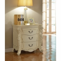 Novara French Ornate 3-Drawer Nightstand In Pearl White