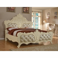 Novara French Ornate Crystal Tufted King Bed In Pearl White