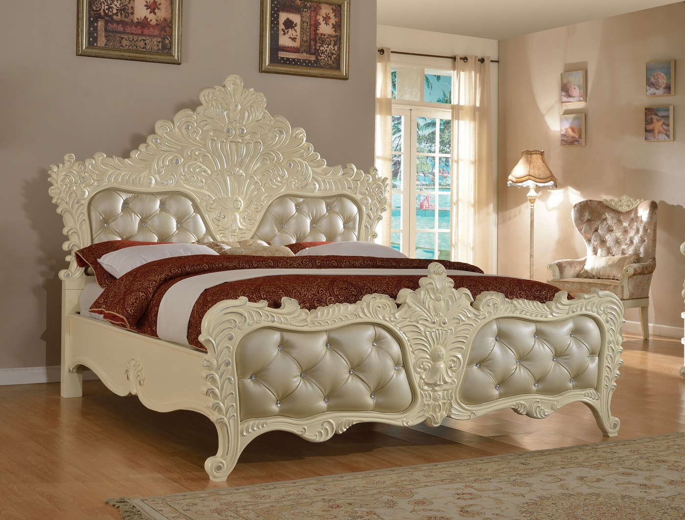 Novara French Ornate Crystal Tufted 4 Pc Queen Bedroom Set