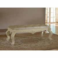 Novara French Ornate Leather Tufted Bench In Pearl White