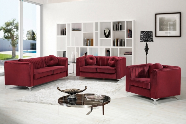 Nyla Contemporary Channel Tufted Burgundy Velvet Sofa Set ...