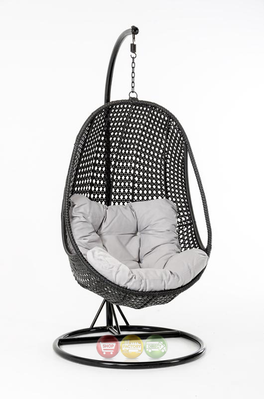 Oahu Outdoor Hanging Pod Chair Black Rattan|Shop Factory ...