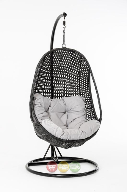 Oahu Outdoor Hanging Pod Chair Black Rattan Shop Factory Direct Free Shipping