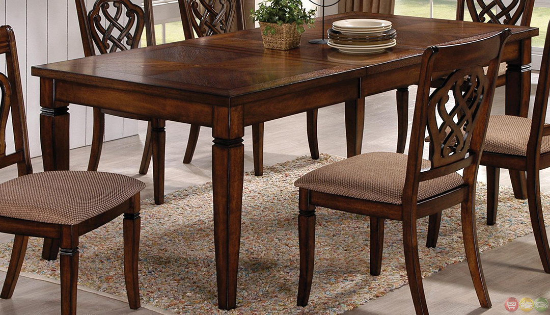 Oak transitional style 7 piece dining room table and for 7 piece dining set