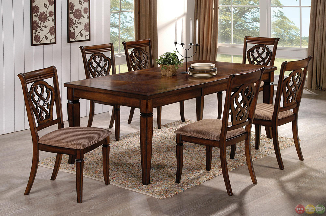 oak transitional style 7 piece dining room table and chairs set. Black Bedroom Furniture Sets. Home Design Ideas