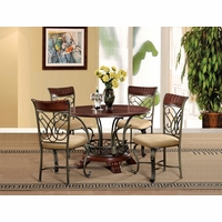 Obasi 5 Pc Casual Round 48 Cherry Finished Dining Table Set W Bronze Base