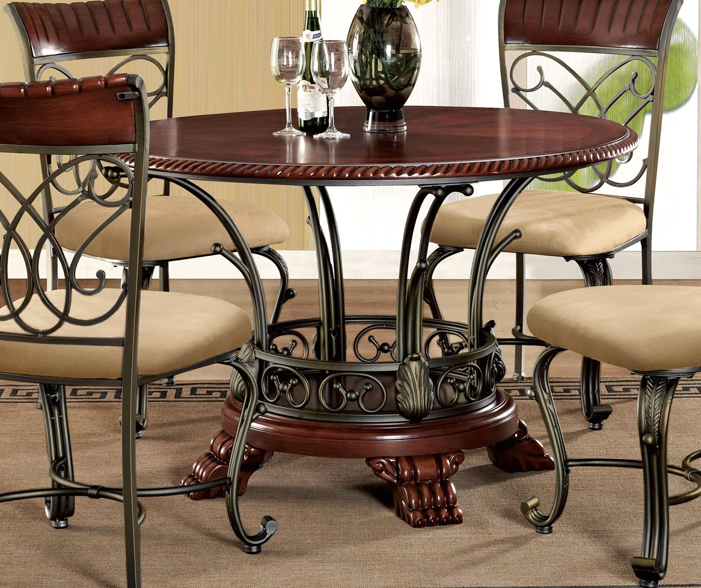 "Black And Cherry Round Table And Two Dinette Chair 3 Piece: Obasi 5-pc Casual Round 48"" Cherry Finished Dining Table"
