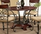 "Obasi Casual Round 48"" Cherry Finished Dining Table w/ Bronze Base"