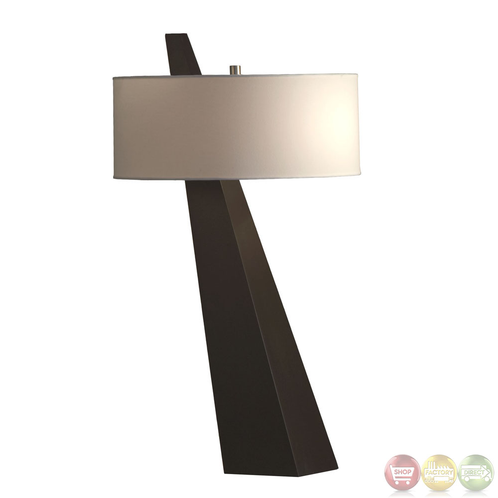 Obelisk chestnut finish white shade modern table lamp 11889 for Modern contemporary table lamps