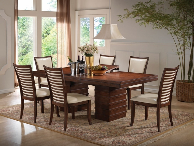 "Ocean Bay 5-pc Transitional 65""-83"" Wood Dining Table Set in Cherry Finish"