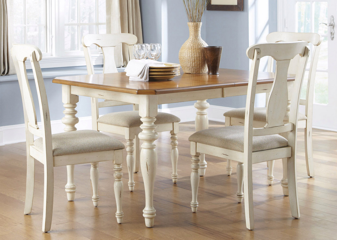 Ocean isle cottage rectangular table casual dining set for Informal dining table