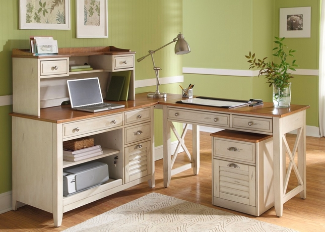 Ocean Isle Cottage Transitional L Shaped Home Office Desk