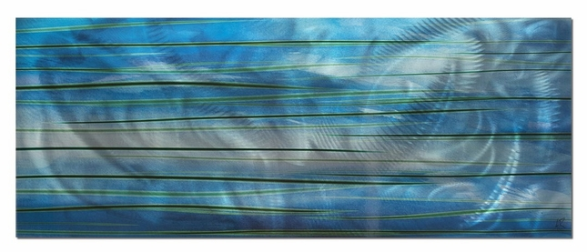 Ocean View - Calming Blue Streak Wall Artwork - L0026