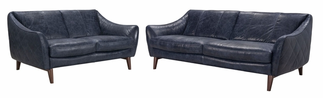 Oceano Contemporary Italian Top Grain Leather Sofa Set In Blue W/ Quilted  Sides