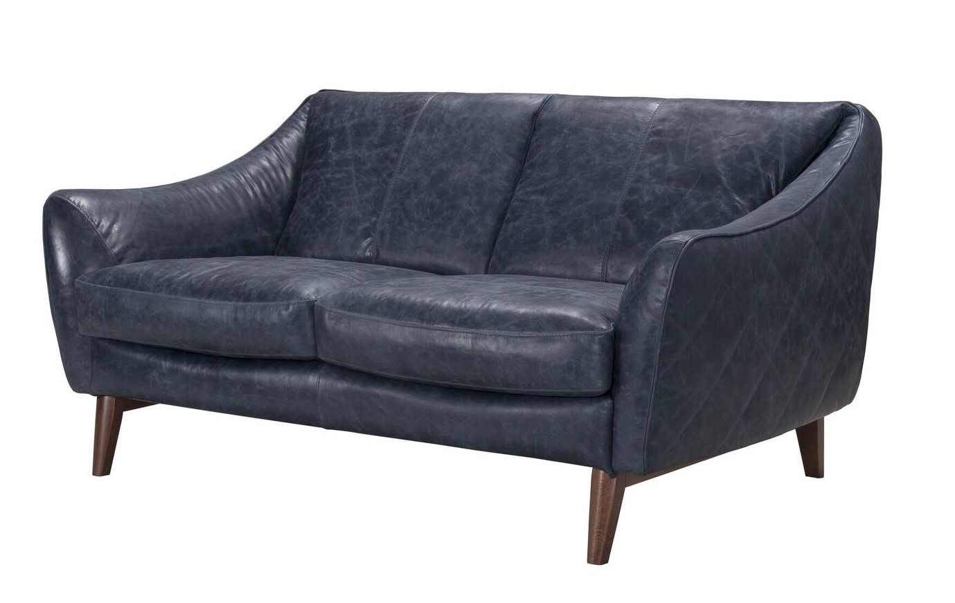 Details about Oceano Contemporary Italian Top Grain Genuine Leather  Loveseat Blue w/ Quilted S