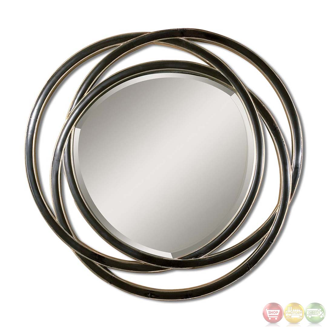 Odalis modern matte black round mirror with overlapping for Circle mirror