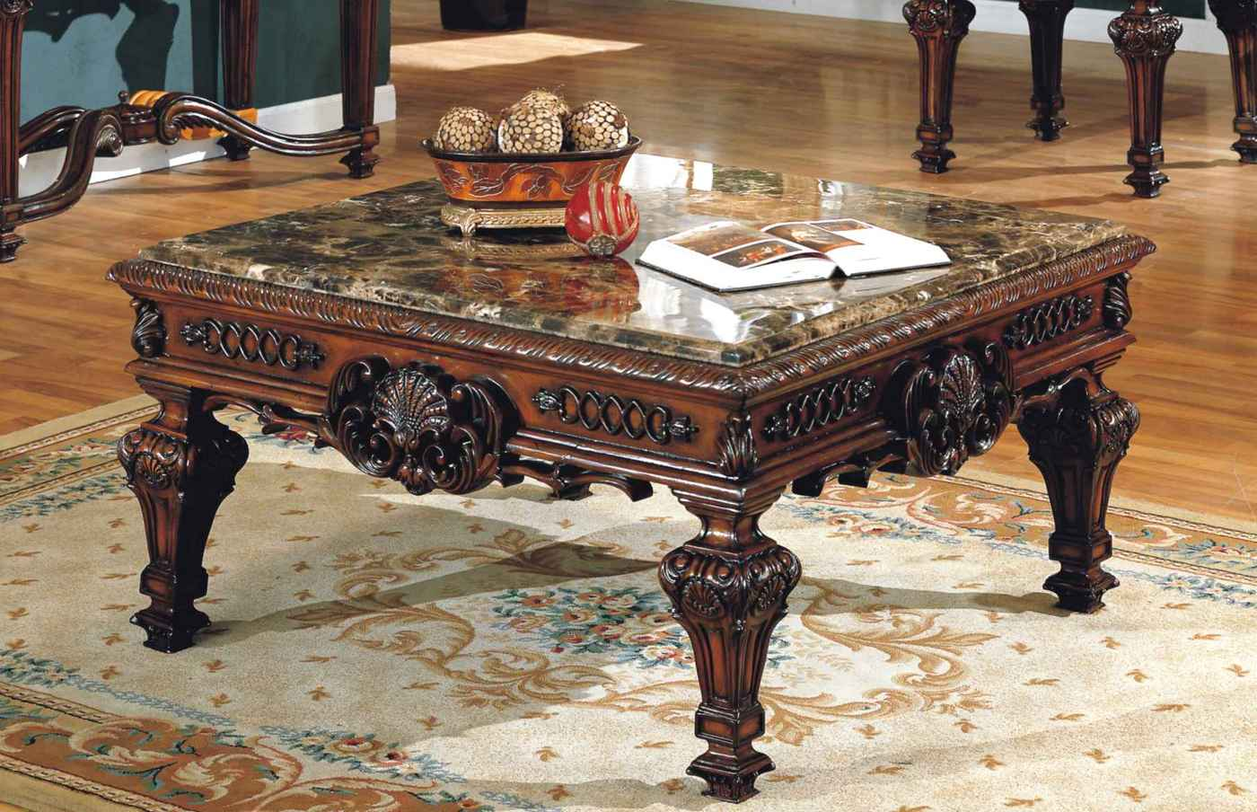 Old World Estate Traditional Ornate Marble Coffee Table