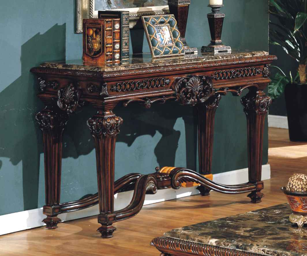 Old World Estate Traditional Ornate Marble Sofa Table