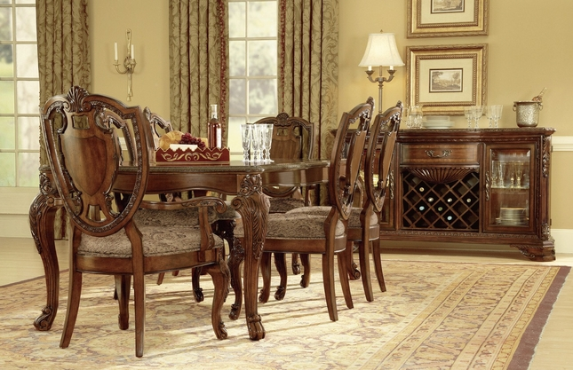 Old World Traditional Dining Table and Shield Back Chairs with Fabric Seat