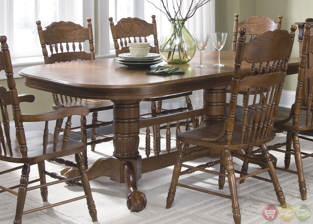 Old world nostalgic style casual dining furniture set for Casual dining room chairs