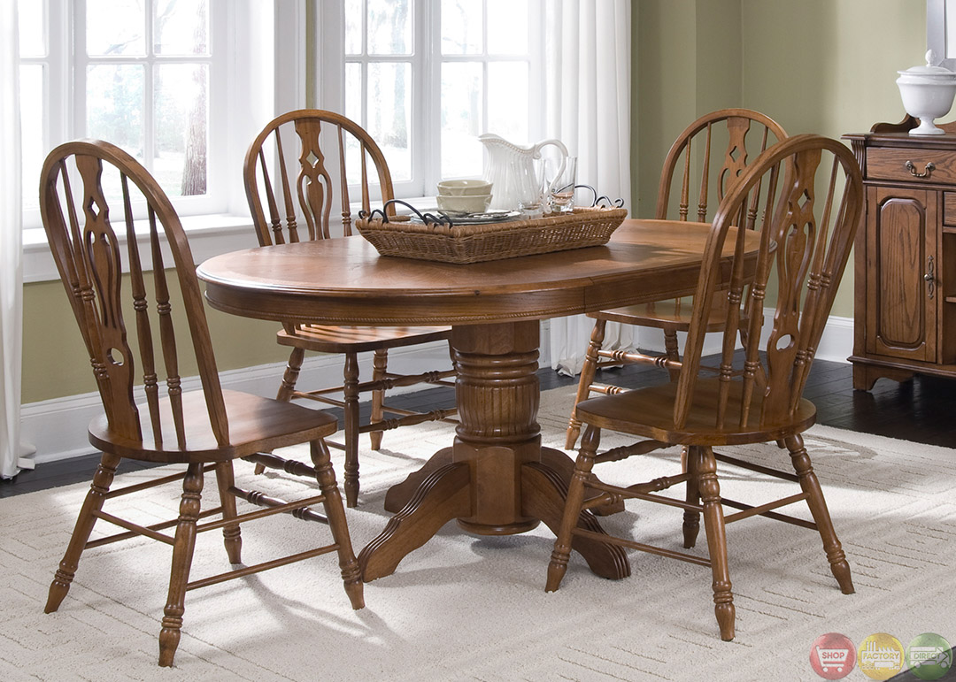 Old world oak finish pedestal table casual dining set for Informal dining table