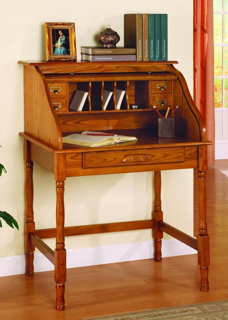 Old World Oak Finish Roll Top Secretary Office Desk Home