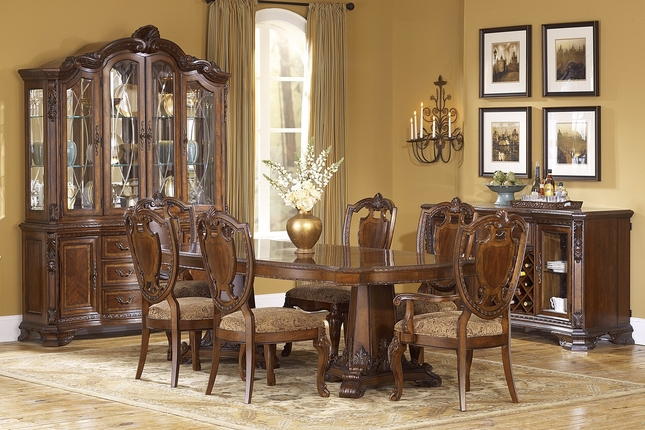 Old World Pedestal Dining Table and Shield Back Chairs with Fabric Seat