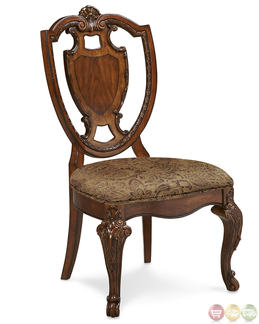 Old World Traditional Shield Back Chair Dining Set
