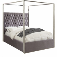 Oleander Contemporary Button-Tufted Grey Velvet Queen Bed with Chrome Canopy