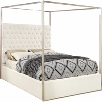 Oleander Contemporary Button-Tufted White Velvet Queen Bed with Chrome Canopy