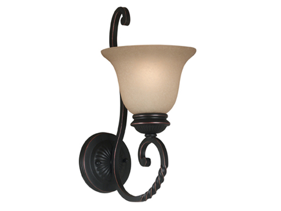 Oliver Single Light Sconce Wall Light Bronzed Finish