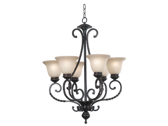 Oliver Six Light Chandelier Oil Rubbed Bronzed Finish